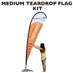 MEDIUM CUSTOM PRINTING TEARDROP FLYING BANNER FLAG KIT (Single-Sided)