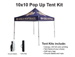 10 X 10 EVENT TENT W/CUSTOM PRINTED CANOPY PLUS extra canopy, wheeled storage bag and ground spikes