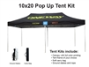 10 X 20 Event Pop Up Tent w/ Custom Printed Canopy, PLUS extra canopy, wheeled storage bag and ground spikes