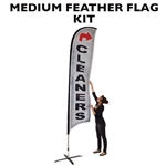 MEDIUM CUSTOM PRINTING FEATHER FLYING BANNER FLAG KIT (Single-Sided)