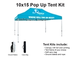 10 X 15 Event Pop Up Tent w/ Custom Printed Canopy, PLUS extra canopy, wheeled storage bag and ground spikes